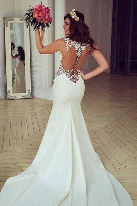 Lace Mermaid Wedding Dresses, Sexy Long Custom Wedding Gowns, Long Custom Wedding Gowns, Cheap Wedding dress, Best Bridal Gowns, Custom Made Wedding Dresses, Lace Wedding Dresses