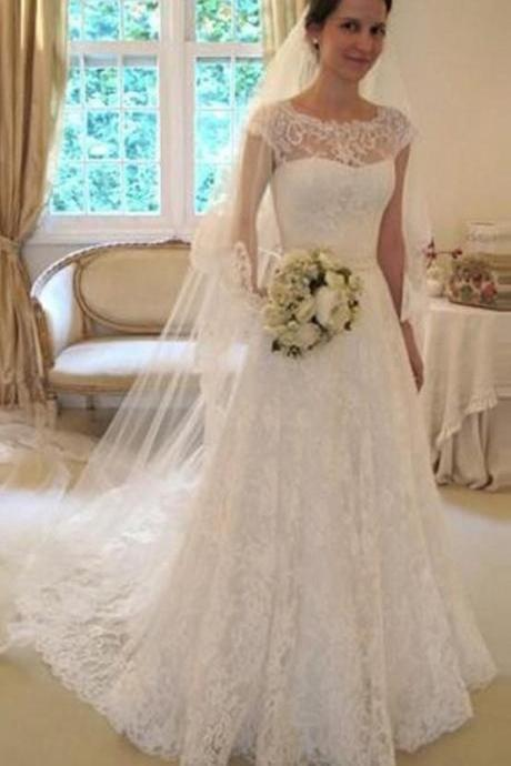 Cap Sleeves Wedding Dresses, Lace White Wedding Dress, Long Custom Wedding Gowns, Cheap Wedding dress, Best Bridal Gowns, Custom Made Wedding Dresses