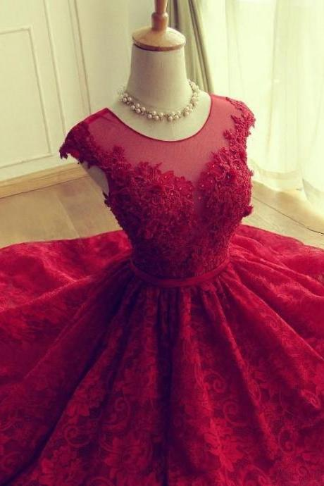 Lace Red Homecoming Dress, Tulle Scoop Prom Dress Short, Graduation Dresses for Teens, Cheap Homecoming Dress, Party Dress