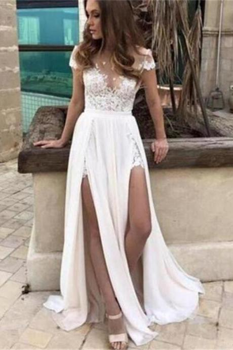 Cap Sleeves Wedding Dress, Lace Chiffon Wedding Dresses, Party Evening Prom Dresses, Simple Slit Most Popular Wedding Dress, Cheap White Bridal Gowns
