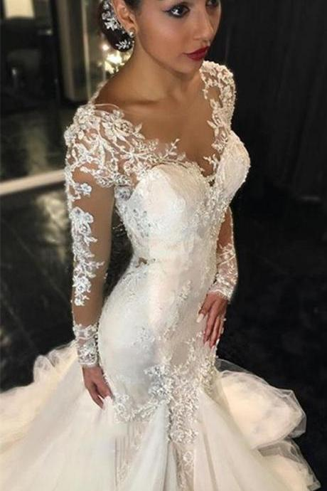 Long Sleeves Wedding Dress, Lace Appliques Wedding dress, Custom Made Wedding dress, Cheap Ivory Wedding Dress, Best Bridal Gowns