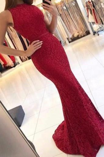 Mermaid Round Neck Prom Dresses, Dark Red Lace Prom Dress Cut Out, Sweep Train Prom Dresses, New Arrival Long Prom Dresses